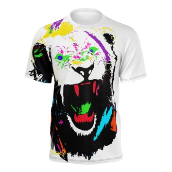 King of The Jungle Lion Men's White T-Shirt (Jersey Fabric)