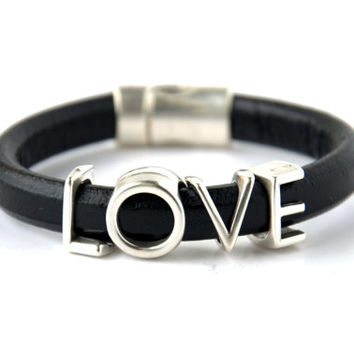 SALE % 30 Off!-Unisex Love Spacer Regaliz Black Greek Leather Bracelet