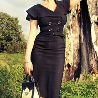 Bettie Page Clothing - Secretary 50s retro pencil dress black