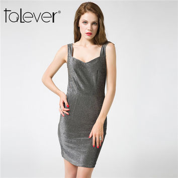 Talever 2017 Fashion Summer Women's Clothing Sexy Shiny Metal Color Patchwork Black Sheath Evening Package Hip Short Dresses