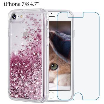 iPhone 8 case, iPhone 7 Case, Maxdara [Free Screen Protector] Protective Glitter Liquid Floating Bling Sparkle Quicksand Bumper Case Pretty Fashion Design for Girls Children 4.7 inch (Rosegold)