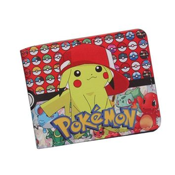 Pocket Monster  Wallet For Teenager Boy Girl Kawaii Pikachu Poke Ball Wallet Leather Student Dollar Bag Card Holder PurseKawaii Pokemon go  AT_89_9