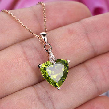 Natural Peridot Necklace in 14k or 18k Rose gold,Fashion Style,Trillion Cut Natural Gem Pendant,Birthstone pendant gift,Prong Set,Wedding