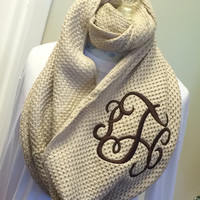 NEW Style Light Tan Infinity Scarf  Monogram Font Shown INTERLOCKING in Brown