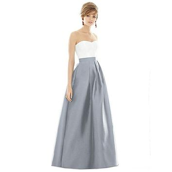 Alfred Sung by Dessy D755 Floor Length Sateen Twill Bridesmaid Dress
