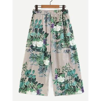 All Over Florals Wide Leg Pants