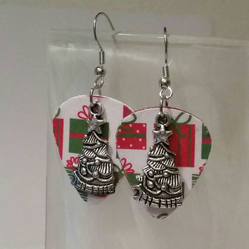 Guitar Pick Jewelry by Betsy's Jewelry - Earrings-  Christmas  Jewelry - Holiday  - Christmas Tree - Presents - Upcycled Jewelry