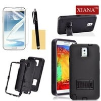 Galaxy Note 3 Case, XIANA Fashional Unique Folding Kick-Stand Hybrid High Impact Hard Soft Combo Back Slim Fit Case Cover with Stylus,Screen Protector and Cleaning Cloth Suitable For Samsung Galaxy Note3 N9000(Black)