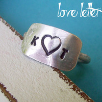 Love Letters - Hand Stamped Symbol or Initial(s) Personalized custom Sterling Silver Skinny Ring, modern rustic organic jewelry, stackable