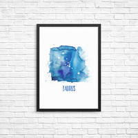 Constellation print | Taurus Constellation art | Taurus art | Watercolor art | Taurus Zodiac sign