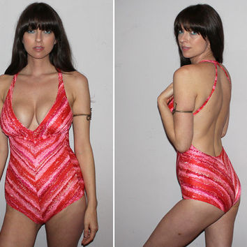 Vintage 60s 70s HALTER One Piece Bathing Suit / Plunging Bust / Psychedelic Print Swimsuit / Red, Pink, Orange Chevron Stripe / RARE / Small