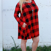 Sweetest Thing Plaid Print Dress With Pockets ~ Red ~ Sizes 12-18