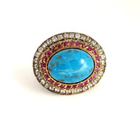 Vintage Turquoise Ruby & Topaz Sterling Silver Statement Ring, Size 6