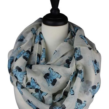 KnitPopShop Infinity Soft Elephant Sheer Blue Womens Scarf