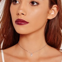 Missguided - Diamante Chain Choker Necklace Silver