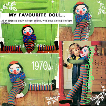Draught Excluder KNITTING Pattern EASY CROCHET Vintage Pattern Draft Stopper Stripe Clown Doll Knitting Pattern Instant Download PdF Pattern