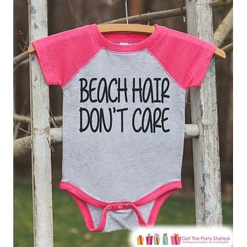 Beach Hair Don't Care Onepiece or Raglan - Summer Outfit For Kids - Pink Baseball Tee or Onepiece - Summer Outfit for Baby, Youth, Toddler