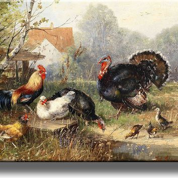 Village Turkey and Rooster Picture on Acrylic , Wall Art Décor, Ready to Hang!
