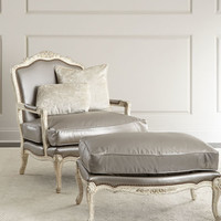 Old Hickory Tannery Silver Leather Bergere Chair & Ottoman