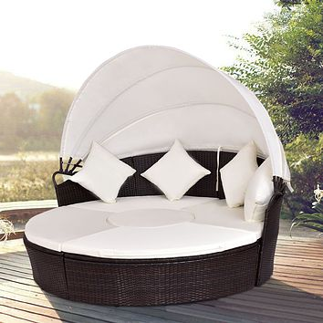 Giantex Outdoor Patio Canopy Cushioned Daybed Round Retractable Sofa Bed Modern Rattan Furniture Set