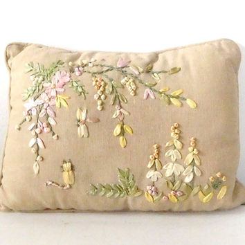 Ribbon Embroidery Throw Pillow Small Flower Pillow Garden Flowers Ribbon Cat Dragonfly Shabby Bohemian Boho Decor Chic Vintage