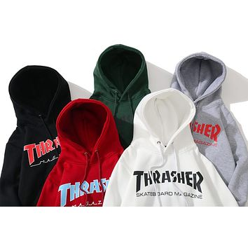 Thrasher autumn and winter tide brand men and women models long sleeve hoodies