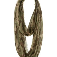 camo infinity scarf with fringe