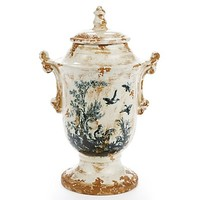 "One Kings Lane - Distinctive Decor - 9"" Bird Scene Jar"