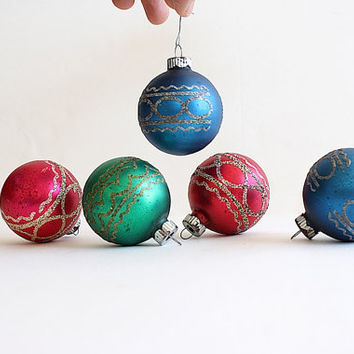 Shiny Brite Glass Christmas Ornaments - Mid Century Modern Christmas Decorations - Red Blue Green Mica Sparkles