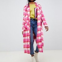 Glamorous Tall longline coat in bright check at asos.com
