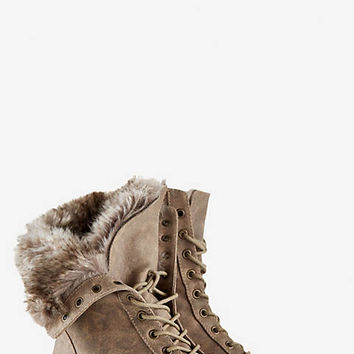 FAUX FUR LINED CONVERTIBLE COMMANDER BOOT from EXPRESS