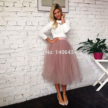 2017 spring fashion skirts womens summer jupe high waist tutu adult long tulle skirt Women Summer Elastic High Wais