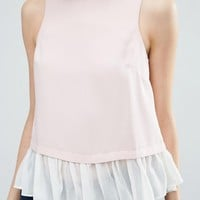 ASOS Double Layer Top With Ruffle Hem