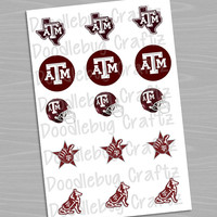"""Texas A&M Aggies - Printable Bottlecap Images - Instant Download 1"""" circles - 15 images"""