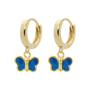 Girls Blue Enamel Butterfly Huggie Earrings