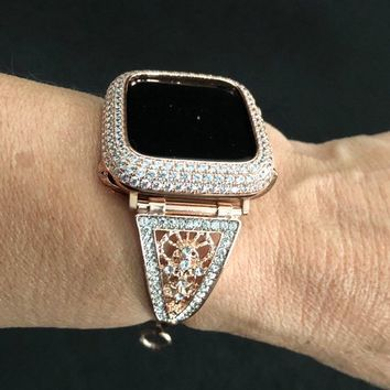 Apple Watch Band Cuff Bangle Rose Gold Women Crystal Rhinestone Filigree 38 40 42 44mm Series 1 2 3 4/Case Cover Bezel MicroPave Lab Diamond