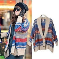 Geometry Bat Sleeve Fashion Sweater &Cardigan -Fashion Shopping Mall