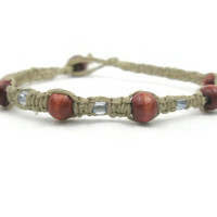 Natural Hemp Bracelet With Clear Blue Seed Beads and Wooden Beads