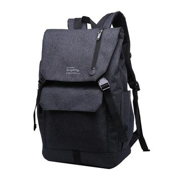 School Backpack trendy men travel bags bagpack sling chest bag large school bags for boys teenagers simple black waterproof  for laptop AT_54_4