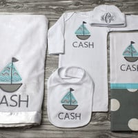 Baby boy coming home outfit baby shower present plush blanket gown hat burp and bib with blue and gray sailboat personalized name monogram