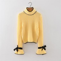 Long Trumpet Sleeves High Neck Pure Color Bow Sweater
