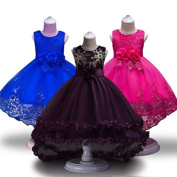 High Quality Girls Sleeveless Princess Children flower girl dress For Wedding 2-12 Years Girls Trailing Party Prom Dresses
