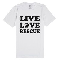 live love rescue reg tee dog tee-Unisex White T-Shirt