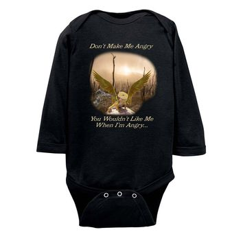 Angry Baby Gold Dragon Rabbit Skins Infant Long Sleeve Bodysuit