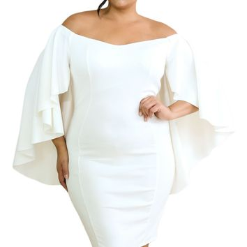 White Off Shoulder Fluttering Bell Sleeve Curvy Dress