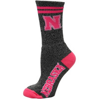 Nebraska Cornhuskers Women's Marble Medium 504 Socks – Gray/Pink