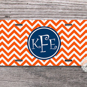Custom License plate - Navy blue monogram circle on Orange chevron personalized car plate, monogrammed gift