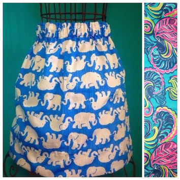 Women's Custom Lilly Pulitzer Sea Blue Private Island Skirt
