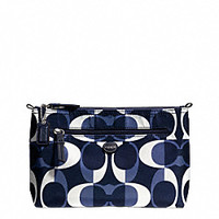 Coach Signature Getaway Nylon Cosmetic Case Pouch Navy