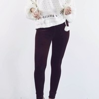 High On You Burgundy Velvet Leggings With High Waist